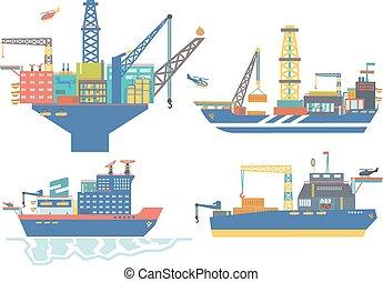 plataforma, barcaça, icebreaker, il, vetorial, gás, ...