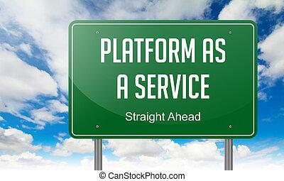 plataforma, como, un, servicio, en, verde, carretera, signpost.
