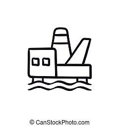 plataforma costa afuera del aceite, bosquejo, icon.