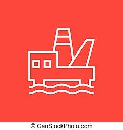 plataforma costa afuera del aceite, línea, icon.