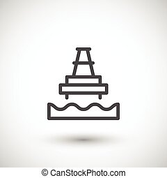 plataforma costa afuera del aceite, línea, icono