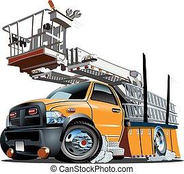 plataforma, elevador, caminhão, caricatura