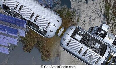 plataforma espacial, e, astronautas