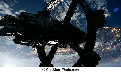 plataforma espacial, orbiting, terra