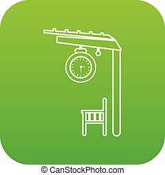 plataforma, estrada ferro, vetorial, verde, ícone
