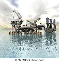 plataforma, nubes, perforación, mar