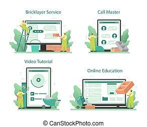 plataforma, online, construir, pedreiro, ou, construtor, set., serviço, profissional