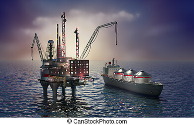 plataforma, perfurar, offshore