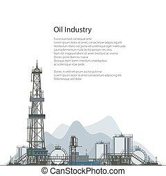 plataforma petrolera, aviador, diseño, perforación, folleto