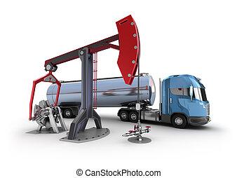 plataforma petrolera, :, bomba, gatos, aislado