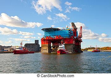 plataforma, remolcar, puerto