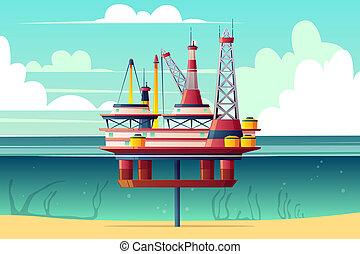 plataforma, sección, aceite, caricatura, cruz, estante