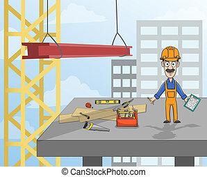 plataforma, trabalhador construção