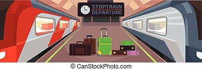 plataforma, treine estação