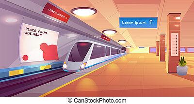 plataforma, vazio, estação, trem metrô, metro