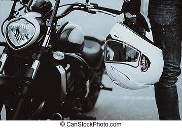 plataformas, experiência., helmet., motocicleta, cavaleiro