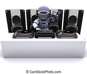 plataformas giratórias, registros, dj, robô, misturando