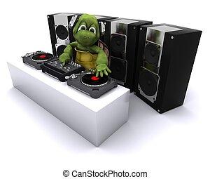 plataformas giratórias, registros, dj, tartaruga, misturando