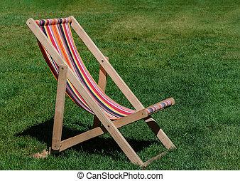 plataformas, longue, capim, verde, chaise