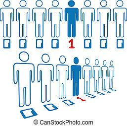 plataformas, pessoas, digital, pessoa, linha, saída
