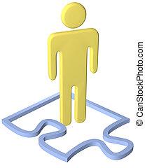 plataformas, quebra-cabeça, pessoa, pedaço, borda, dentro