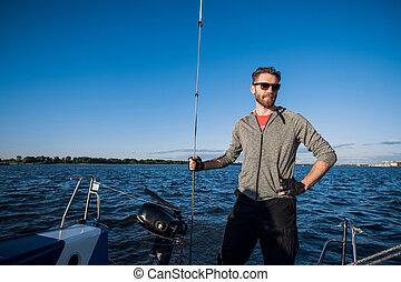 plataformas, sentimento, mão, barba, corda, yachtsman, vela...