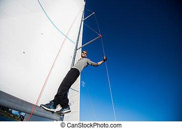 plataformas, sentimento, mão, barba, corda, yachtsman, vela,...