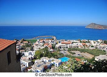 An elevated view of the greek resort of platanias on the island of Crete.