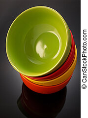 plate and bowl on black