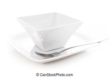 Plate and bowl - Place setting of white plate and bowl...
