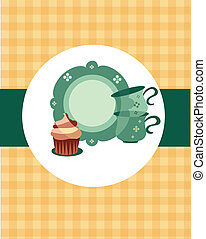 plate and cups beside dessert on retro background-2