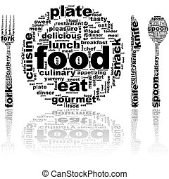 Concept illustration showing a plate and cutlery made up of food related words