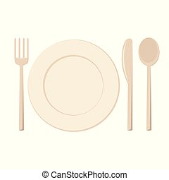 Plate and cutlery vector illustration
