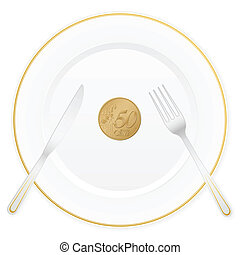 plate and fifty euro cent - Dish with cutlery and 50 euro...
