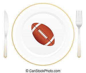 plate and football ball