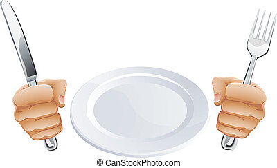 Plate and hands holding cutlery - Empty plate and hands...