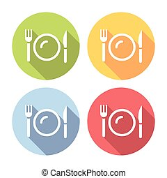 Plate And Kitchen Cutlery Flat Icons Set