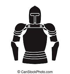 Plate armor icon in black style isolated on white background. Museum symbol stock vector illustration.