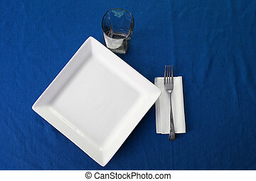 Plate BlueTable Cloth Fork Napkin Setting