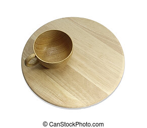 plate cup empty make with wooden top view on white background