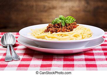 plate de, bolognese espaguetis