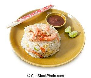 plate de, camarón, arroz frito, blanco, plano de fondo