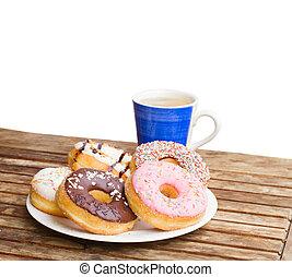 plate de, rosquillas, y azul, taza de café