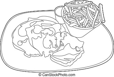 Plate design with beefsteak - Vector illustration of a fried...