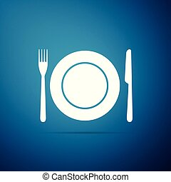 Plate, fork and knife icon isolated on blue background. Cutlery symbol. Restaurant sign. Flat design. Vector Illustration