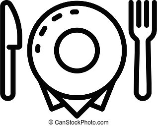 Plate fork and knife icon, outline style - Plate fork and ...