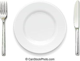 Plate, fork and knife. Set of utensils.