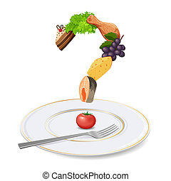 Plate, fork and question mark made of food - Question mark...