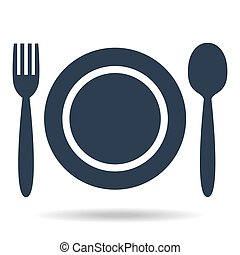 Plate, fork and spoon on white background.