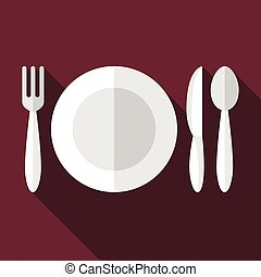 Plate, fork, knife, spoon